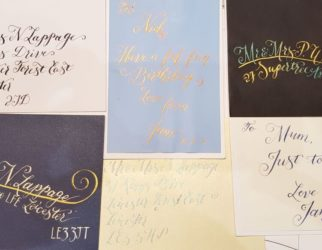 Layout of cards and envelopes with calligraphy